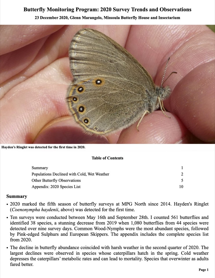 2020 marked the fifth season of butterfly surveys at MPG North since 2014.